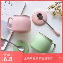 创意早餐杯陶瓷杯简约马克杯子带盖勺牛奶杯情侣水杯字母杯咖啡杯