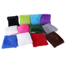 Solid Color Plush Velvet Pillow Case Sofa Waist Throw Cushio