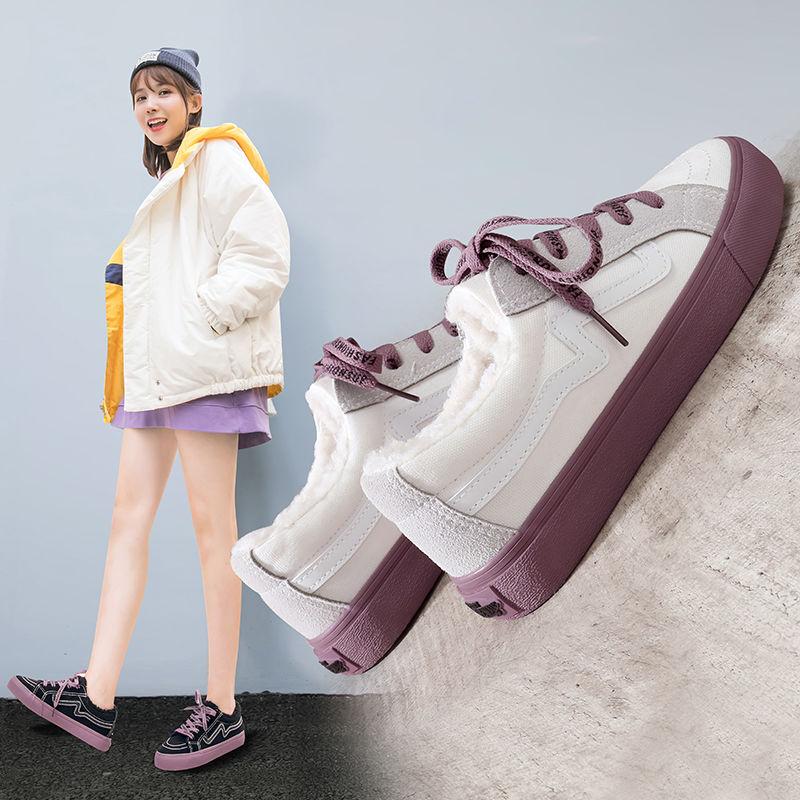 2020加棉小白鞋加绒帆布鞋女平底休闲韩版单鞋运动鞋潮学生板鞋潮满120元减100元