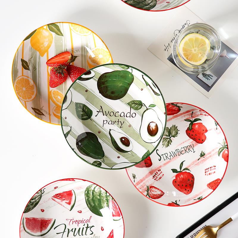日式陶瓷餐具菜盘创意家用深盘碟个性盘子深圆盘组合网红同款餐盘