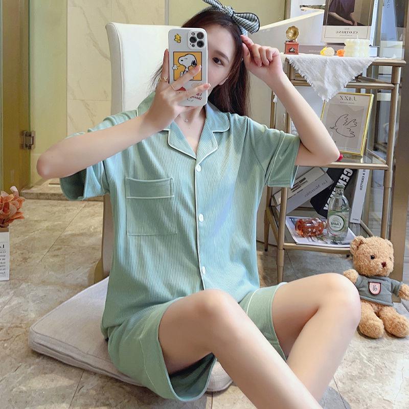 纯棉睡衣女夏季简约短袖短裤两件套夏天韩版可爱女士可外穿家居服