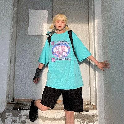 wowac可爱粉色暴力熊和暴力兔韩INS潮流T恤女夏季宽松百搭短袖tee