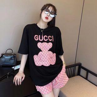 2021夏季新款潮牌印花小熊套装刺绣韩版宽松百搭短袖T恤+满印短裤