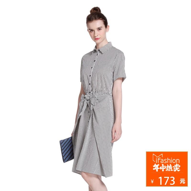 【年中热卖173元】ochirly欧时力棉质假两件条纹连衣裙1HY2084200