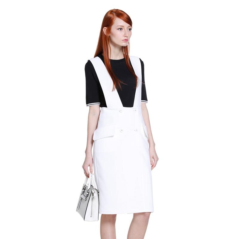 欧时力 新女装 纯色 双排 修身 背带 连衣裙