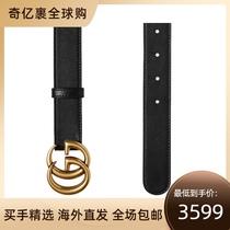 香港直邮Gucci 古驰 男女黑色双G带扣皮革腰带 414516 AP00T 1000