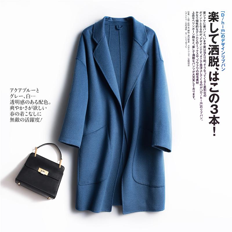 反季促销双面羊绒大衣女短款小个子高端赫本风毛呢外套新款