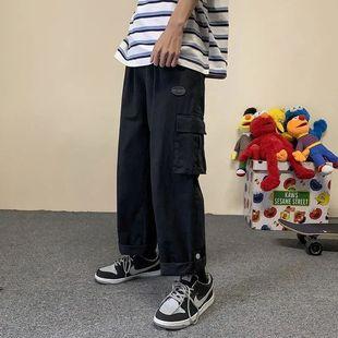 夏季薄款工装裤男潮牌百搭直筒宽松休闲裤学生显瘦原宿潮流阔腿裤