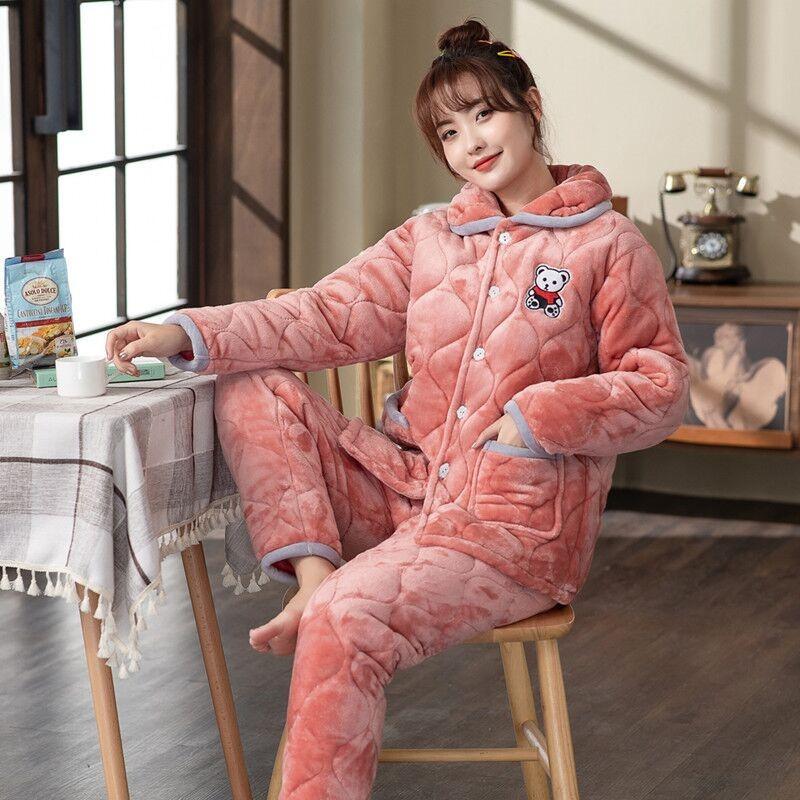睡衣布料冬夹棉加厚三层法兰绒加绒保暖秋冬新款可外穿家居服套装