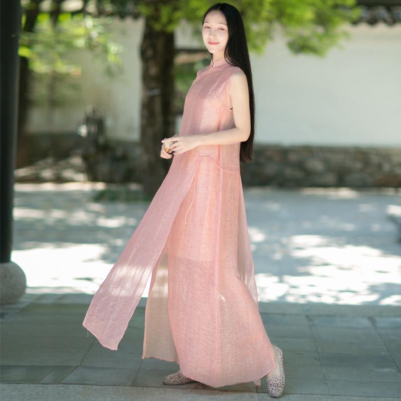 莞尔-山有色原创中式女装复古仙女文艺丝麻无袖飘逸袍子长连衣裙