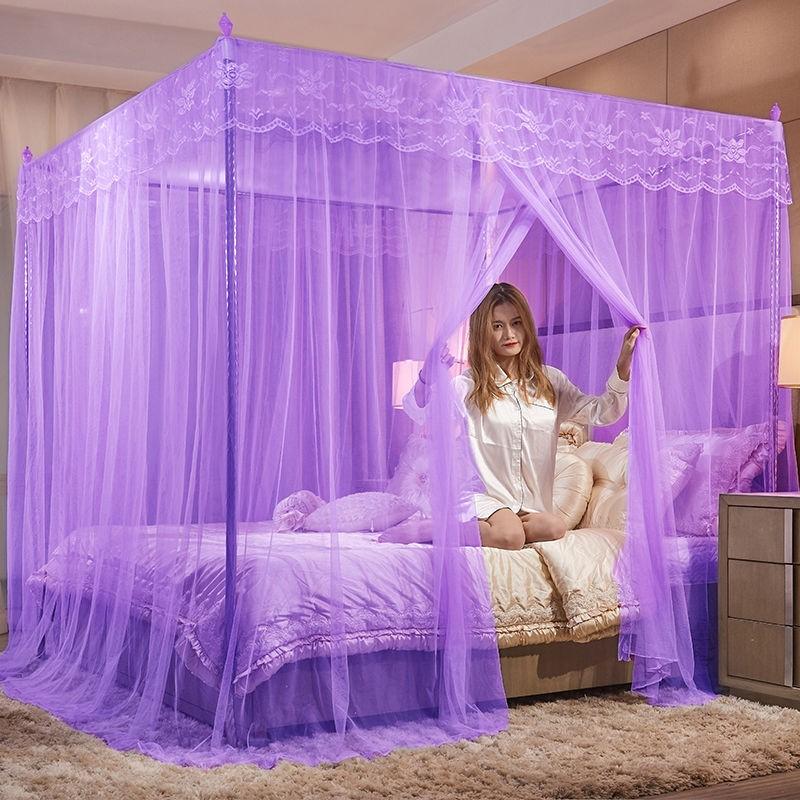 蚊帐家用公主风加密帐纱加粗支架1.2m1.5m双人三开门1.8m米床纹帐