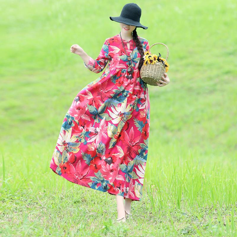 秋装新款民族风女装复古文艺森女棉麻宽松大码A字长袖连衣裙长裙
