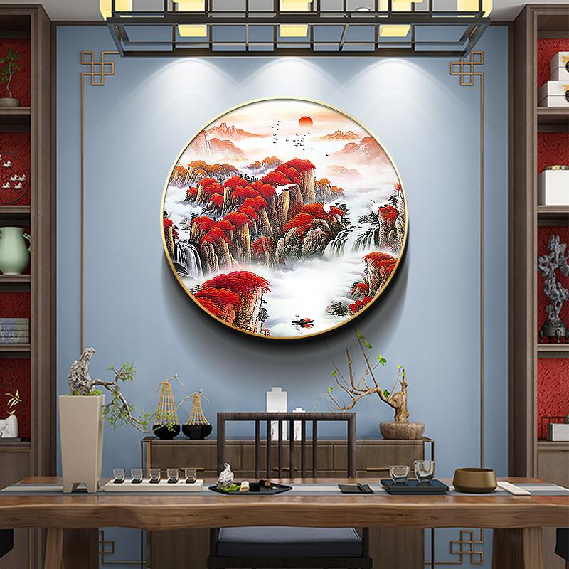 走廊过道玄关壁画茶室新中式圆形装饰画客厅背景墙挂画鸿运当头
