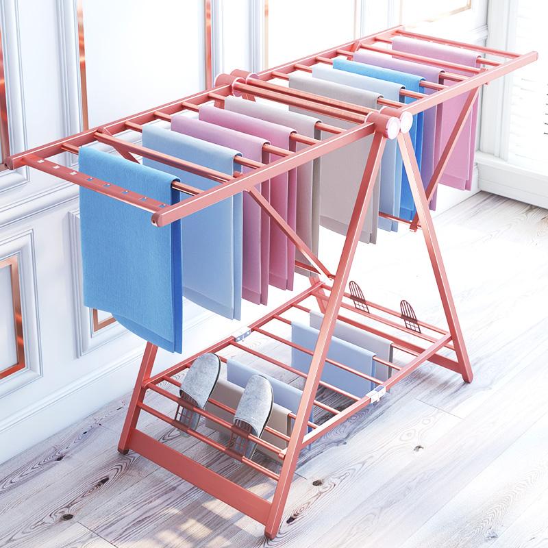 铝合金晾衣架落地折叠卧室内家用晒被子凉衣架阳台移动挂衣服架子