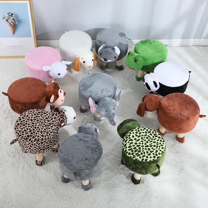 儿童凳子卡通实木动物小凳子家用宝宝可爱毛绒换鞋凳矮凳创意板凳