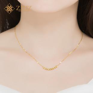 ZJUZ18K金项链玫瑰金女AU750转运珠项链锁骨吊坠黄金项链彩金项链图片