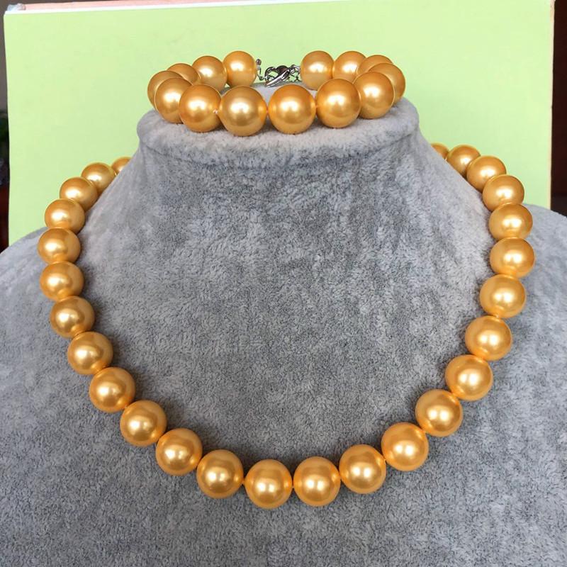 特价 天然海水珍珠项链金珠金色 珍南洋珠南珠正圆送妈妈