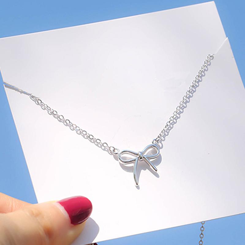 2018新款小清新设计蝴蝶结吊坠项链锁骨链少女心气质礼物