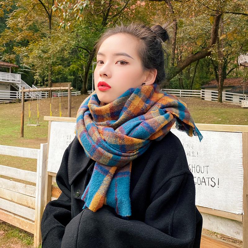 围巾女秋冬季韩版百搭ins仿羊绒保暖披肩复古格子学生针织围脖潮