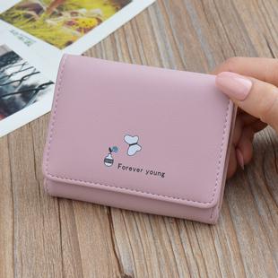 女士钱包卡包女短款学生韩版ins可爱简约小钱夹多功能折叠零钱包图片