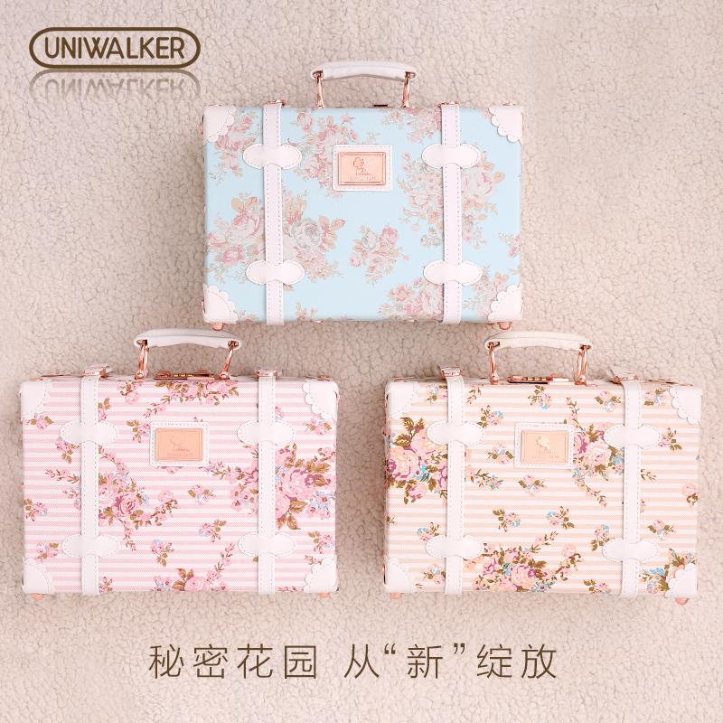 uniwalker清新碎花手提箱13寸手提包化妆箱18寸行李箱小旅行箱女
