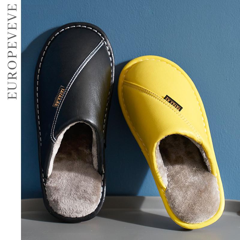 皮拖鞋冬季女居家室内地板厚底牛筋防滑防水保暖情侣毛绒棉拖鞋男