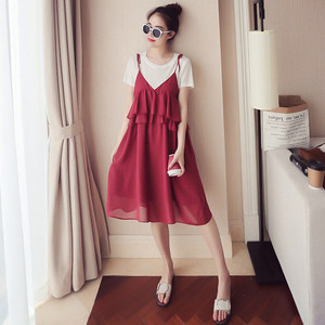 Pregnant women summer dress 2018 new chiffon dress short-sleeved two-piece in the long section of pregnant women dress s