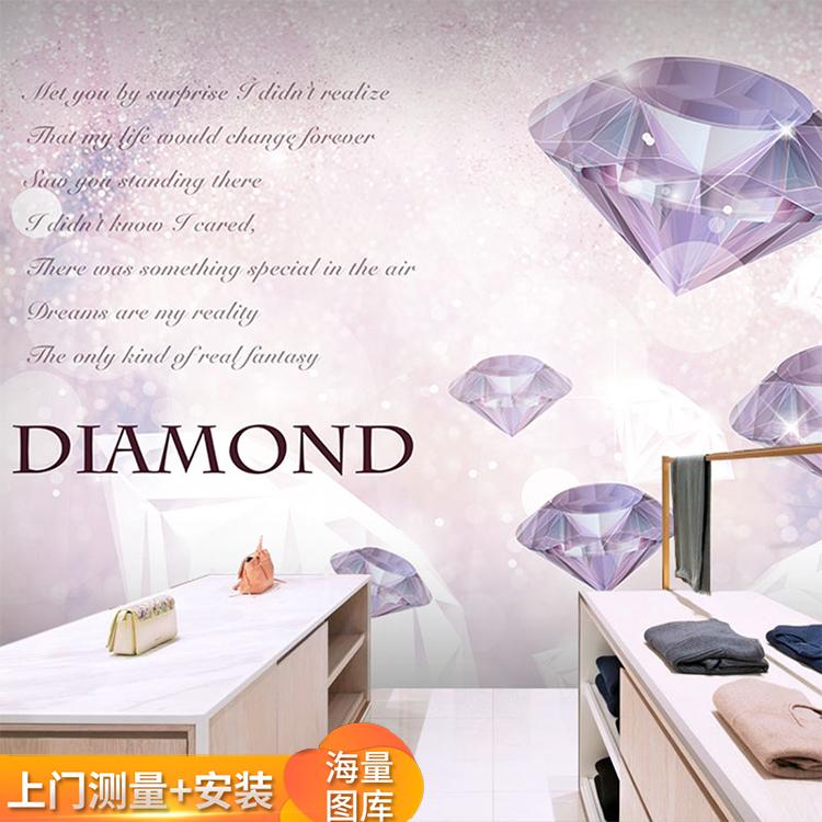 欧式奢华钻戒钻石墙纸婚纱店橱窗背景壁画影楼珠宝首饰店装修壁纸