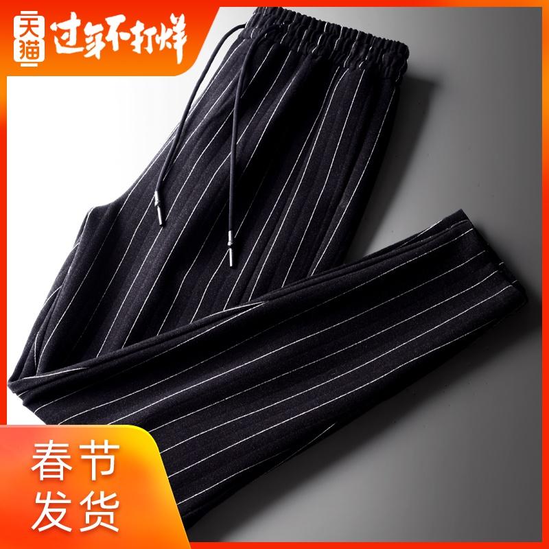 男士休闲裤条纹运动哈伦裤男青年春秋季裤子加厚宽松小脚裤潮流