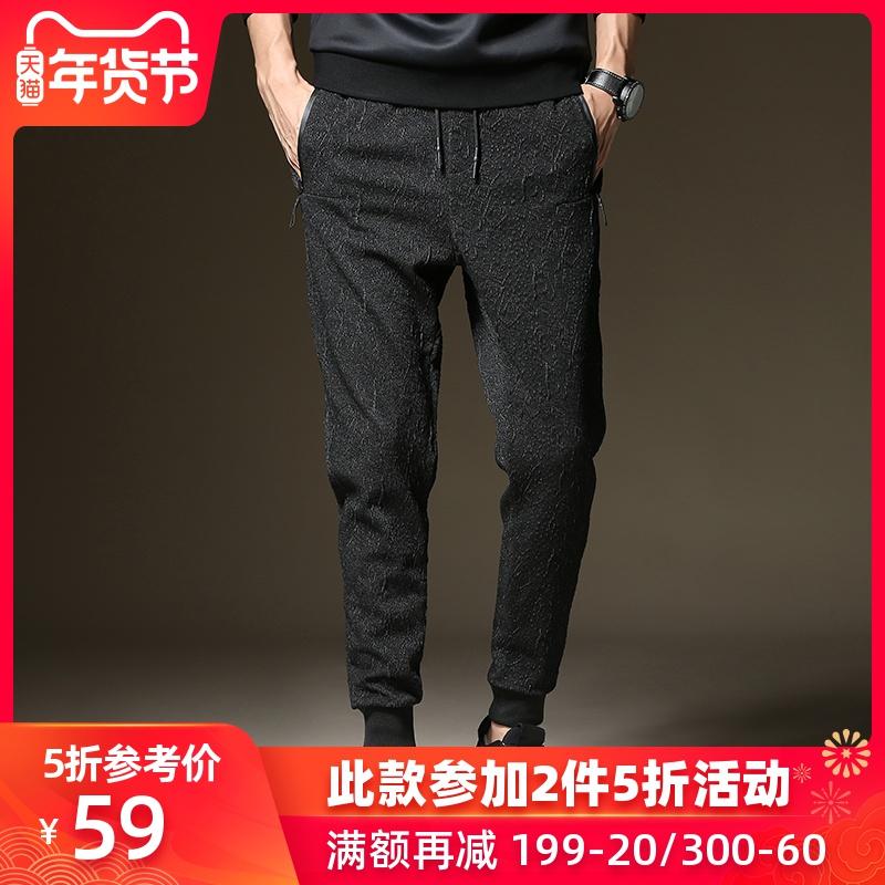 秋季新款休闲裤男士宽松束脚哈伦裤学生小脚卫裤长裤子男2019潮流