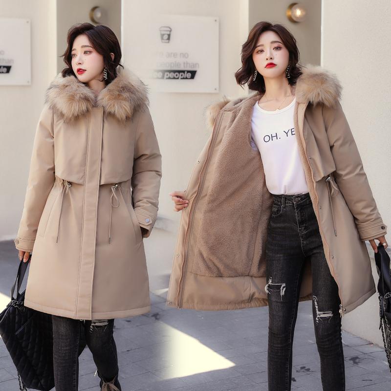 2020新款派克服女韩版中长款加厚收腰棉服加肥大码加绒棉衣冬满1100元减1000元