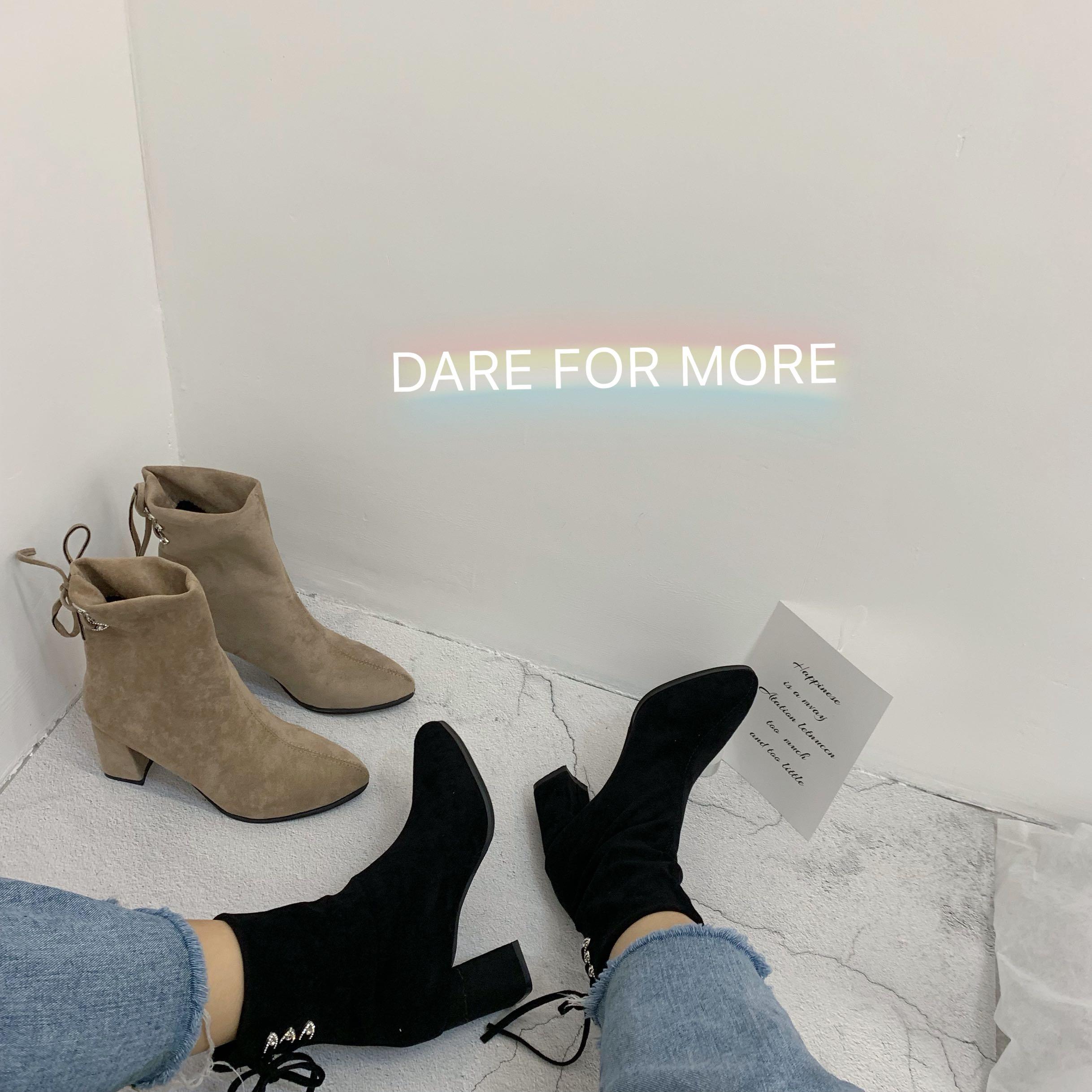 实拍 网红靴子女2019秋款女鞋chic女显脚小瘦瘦小跟短靴短筒中跟-Nikki-