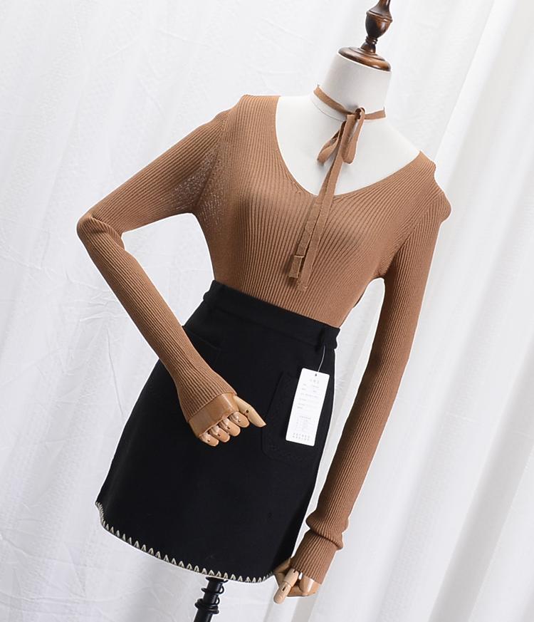 【满89减45】A@13 韩版气质修身V领毛线上衣秋季新款毛线上衣