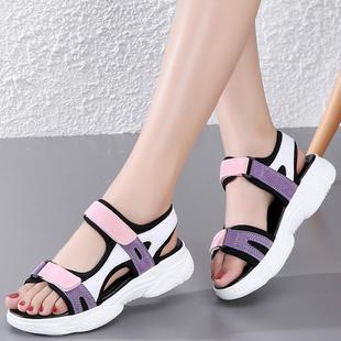 夏季女童凉鞋2020新款网红软底10时尚8女孩9小学生12岁中大童真皮图片