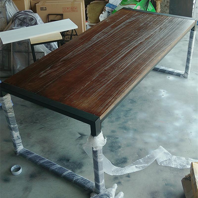 loft美式工业风实木会议桌长条桌子原木工作台长方形铁艺办公桌椅