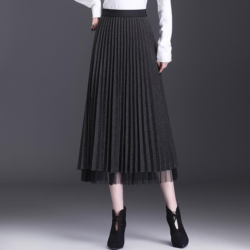 厂家直销2020女装半身裙秋冬新款两面穿韩版高腰显瘦网纱百褶裙