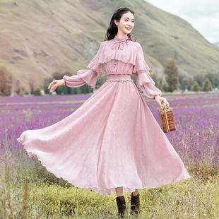 播喜女装Q0351 春季2020新款立领荷叶边灯笼袖雪纺收腰仙女连衣裙