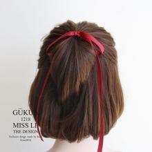 235r00ukua01fur梨花日本设计蝴蝶结飘带发绳头绳皮筋新款