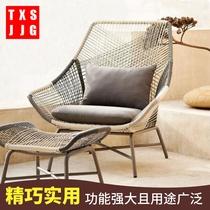 北欧户外家具 阳台桌椅藤椅藤编茶几三件套 单人休闲露台沙发创意