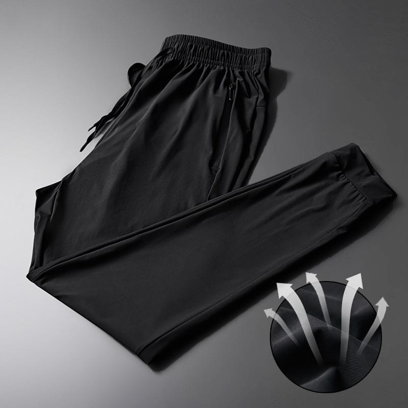 冰丝运动速干裤女薄款九分宽松夏季黑色大码胖mm200斤登山裤男裤
