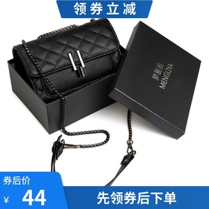 French niche premium bag 2019 new small ck women's bag limited foreign fashion slant rhombus chain bag