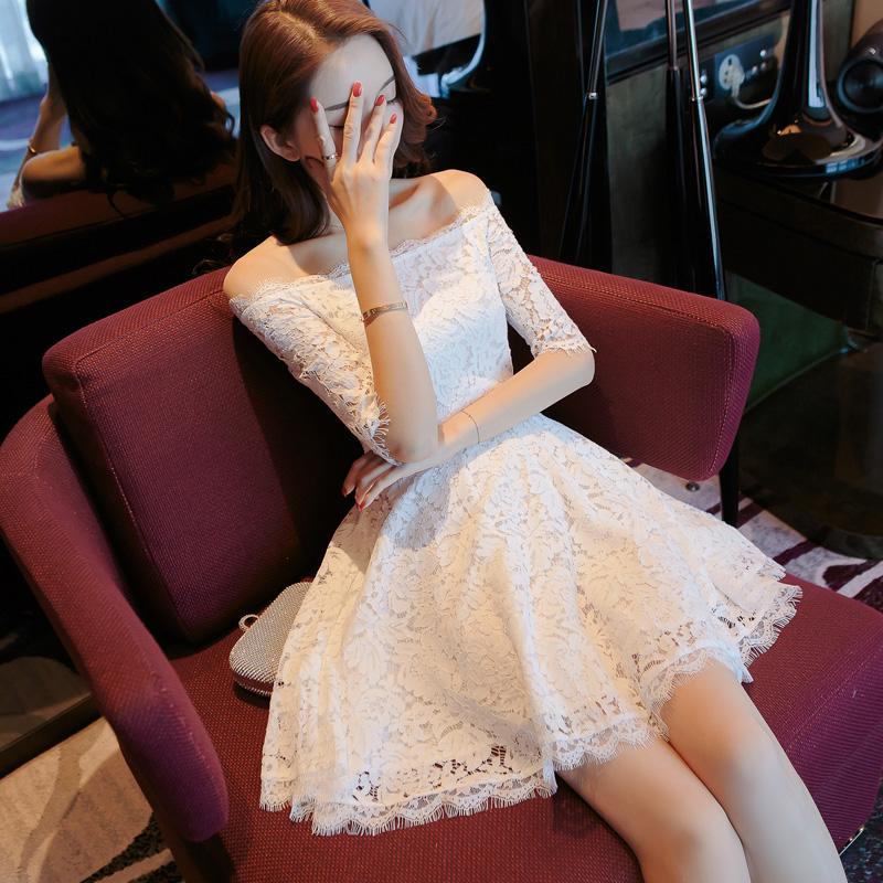 丝白色露肩一字肩连衣裙子夏季