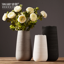 Modern minimalist pottery flower vase, European style creative living room, white dry flower device, Scandinavian decorations.