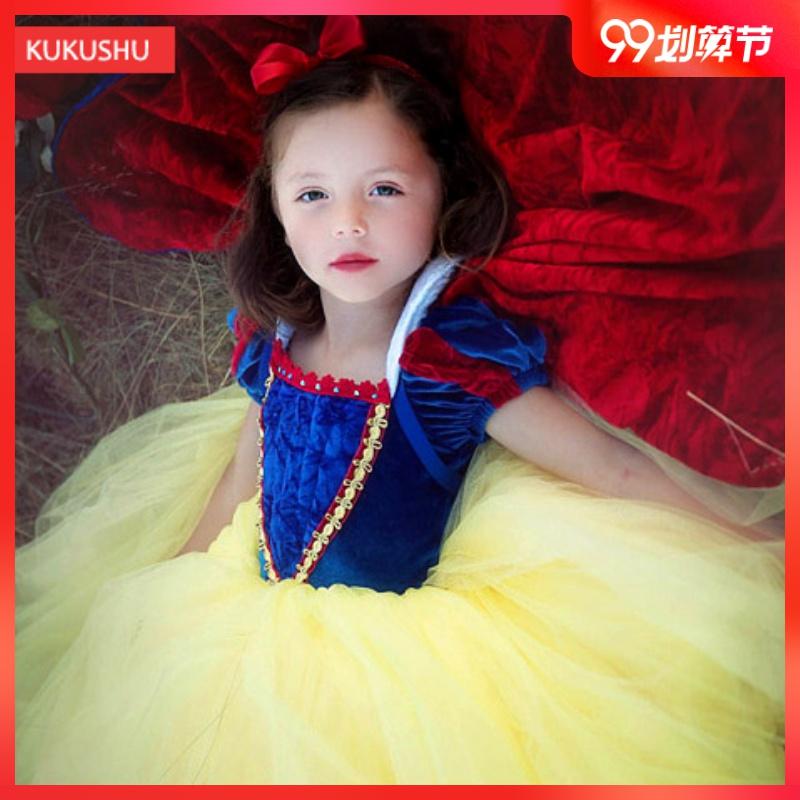 白雪公主裙女童连衣裙COS表演蓬蓬纱裙超洋气礼服万圣节儿童服装