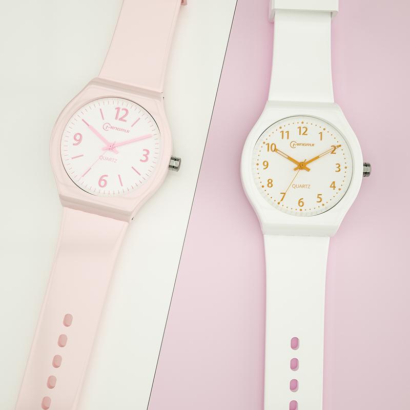 手表女学生考试专用手表韩版简约防水初中生果冻石英表儿童电子表