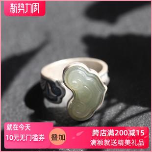 如意纯银饰品手工夸张食指设计师款和田玉石民族风女款转运戒指环图片