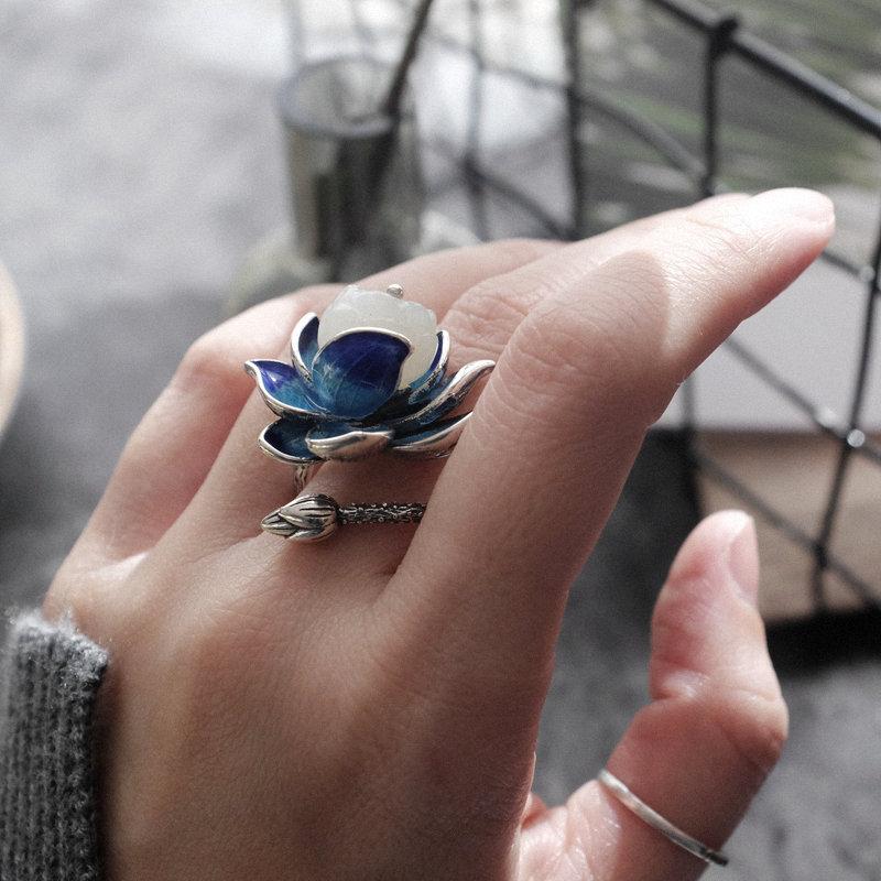 芳华纯银饰品女款设计师古着时尚个性夸张食指设计和田玉石戒指