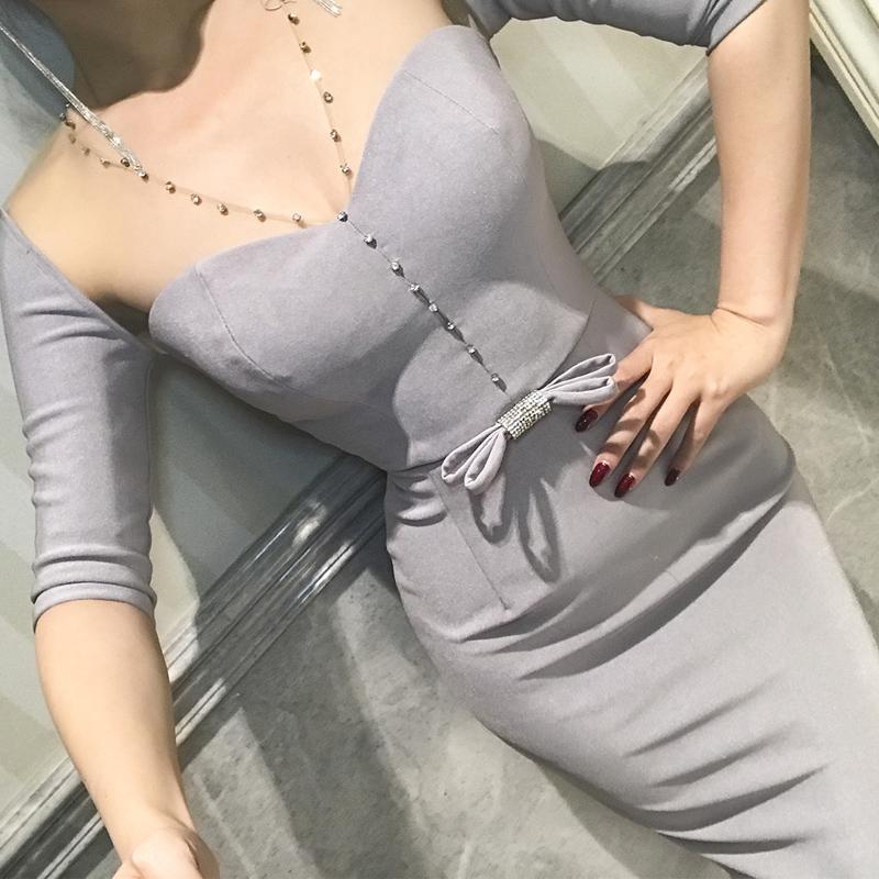 le palais vintage秋新优雅灰色重工闪钻蝴蝶结修身显瘦连衣裙