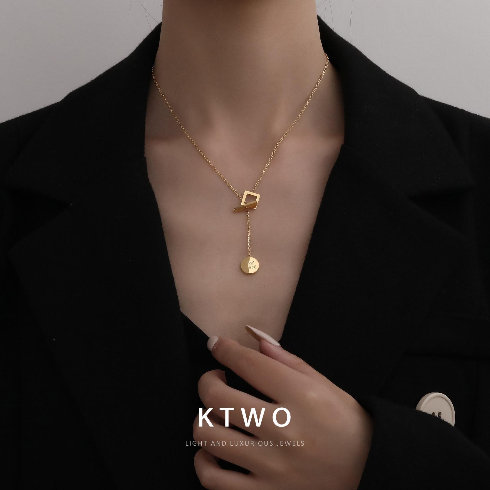 轻奢时尚新款欧美范包K金色项链女韩版简约ins潮个性毛衣链锁骨链