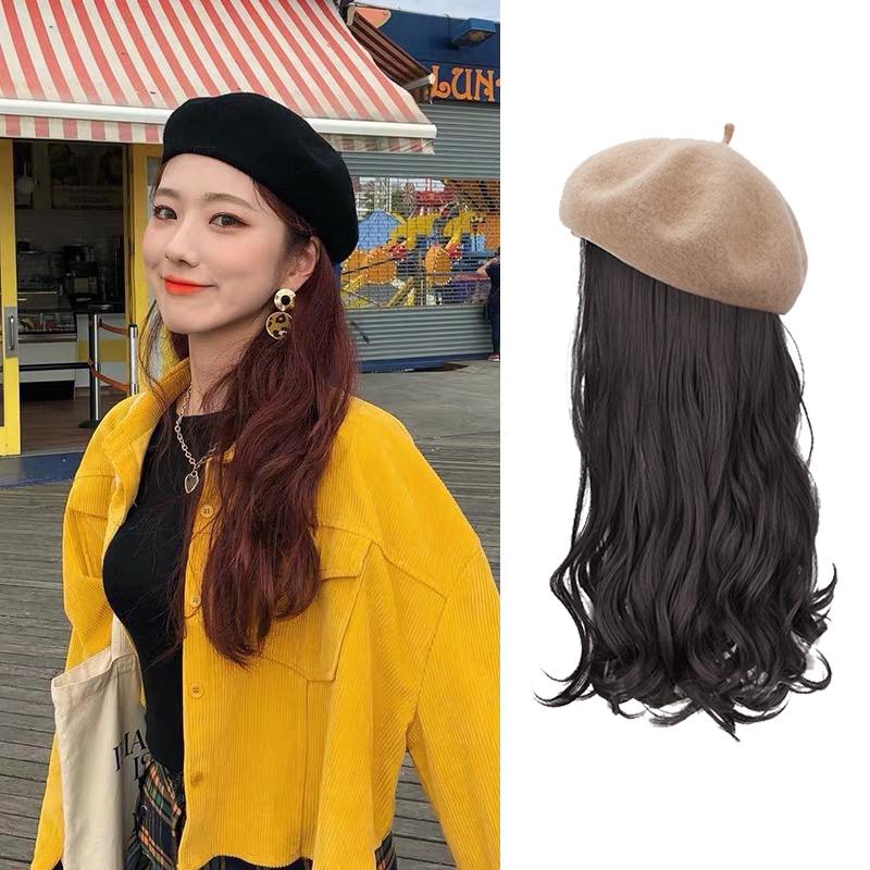 网红款冬天假发帽子一体女时尚贝雷帽秋冬百搭长卷发可拆卸韩版潮